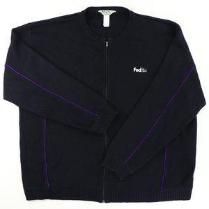 FedEx Adult 4XL Full Zip Cardigan Sweater Employee